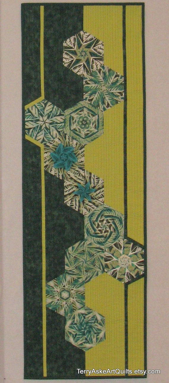 Contemporary Art Quilt Green Hexagons Geometric Shapes