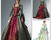 Victorian Steampunk Pattern Corset Style Bodice Masquerade Ball Gown 2 Skirts Bustle Train McCalls 6097 Size 6 8 10 12