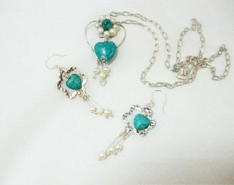 Necklace and Earrings  Turquoise and Pearl