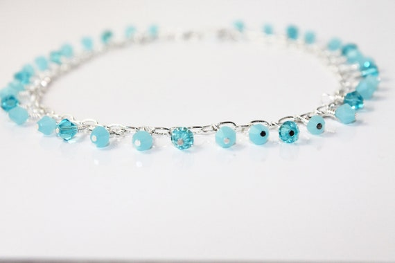 Light Tiffany Blue and Silver Chain Wedding Anklet