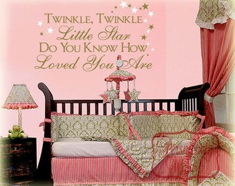 Twinkle Twinkle little star do you know how loved you are Vinyl wall sticker with Stars- girl room decor