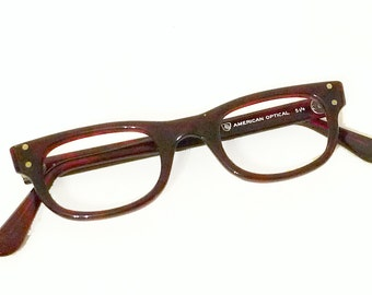 NOS American Optical Wayfarer SMALL True Vintage Unused 60s Never Used Faux Tortoise Eyeglass Sunglass Tart Arnel Style Cateye Glasses Frame