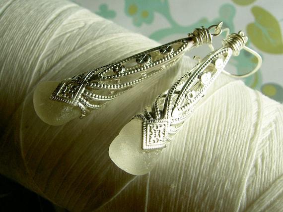 Imperial Cones - white sea glass earrings / white glass earrings / victorian earrings / sea glass earrings / sea glass jewelry