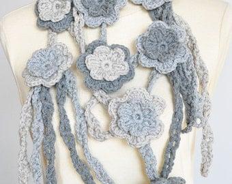 TRIPLES - Grey - Crochet Chunky Cotton Yarn Floral Scarf/Lariat/Bib