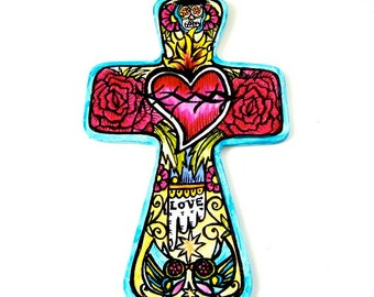 Ceramic Wall Cross Day of the Dead Sacred Heart Love Birds Tattoo Hand Painted Sugar Skull Red Roses Turquoise Yellow