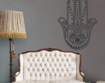 hamsa wall decal, large hamsa vinyl sticker, evil eye wall art, jewish art, FREE SHIPPING