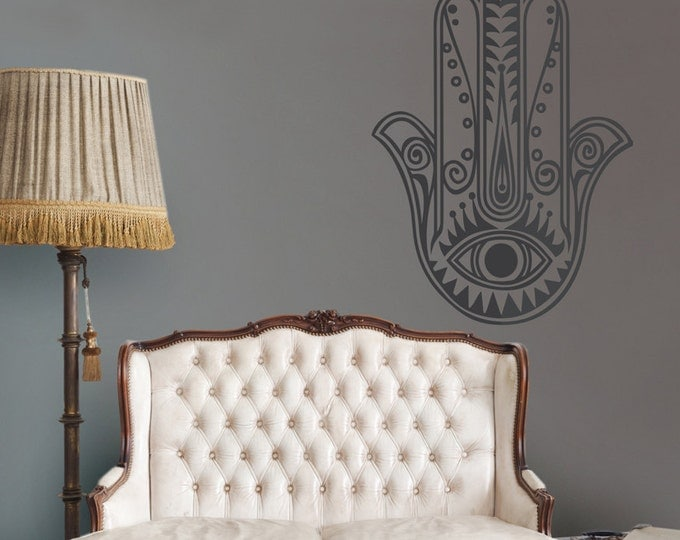 hamsa wall decal, large hamsa vinyl sticker, evil eye wall art, jewish art, FREE SHIPPING