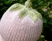 Darling Hand Knit Baby Girl Hat Pale Pink With Green