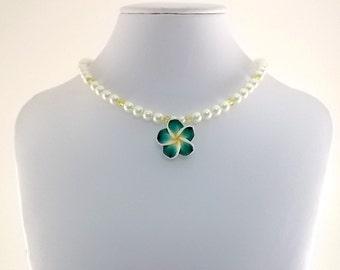 Green Yellow Flower Necklace - Little Girl Necklace - Flower Necklace - Pearl Necklace - Glass Pearl Necklace - Swarovski Necklace - CH009