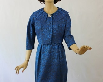 Vintage 50s Leslie Fay Dress w Short Jacket Royal Blue Brocade Cocktail Party Dinner Dress