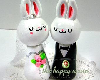 Bunny Rabbit Wedding Cake Topper ANY COLOR Bunnies Rabbits Bride and Groom - Handmade by The Happy Acorn