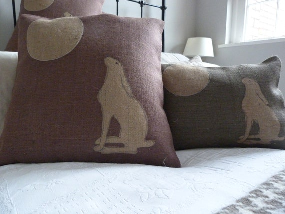 hand printed large  heather moon gazing hare cushion cover