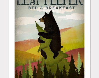 BLACK BEAR Leaf Peeper Bed and Breaskfast Graphic Art Giclee PRINT 9x12 by Signed