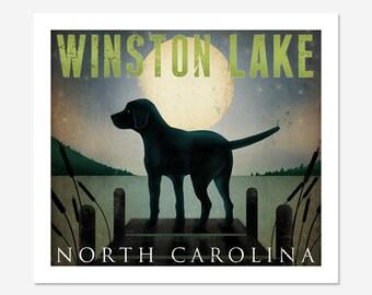 CUSTOM Moonrise Dock Dog Graphic Art Illustration Giclee Print Signed
