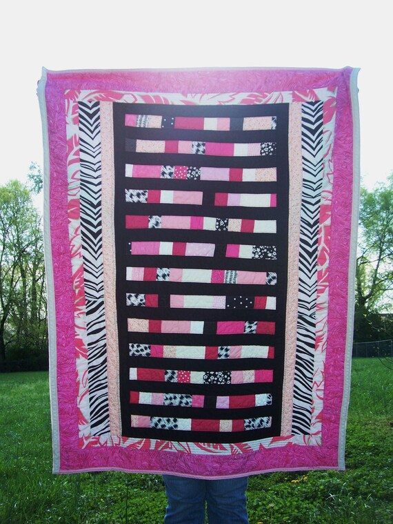 Pink Zebra Print Patchwork Toddler or Baby Girl Quilt with Pink Black and White - Baby Quilt Blanket Toddler Quilt