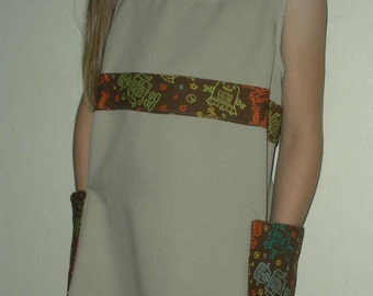 SALE closeout!  Robot jumper tan brown OOAK girls size 7 recycled kitsch dress recycled