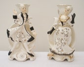 RESERVED for Sue - Vintage Pair Black & White Candle Holders - Colonial Couple