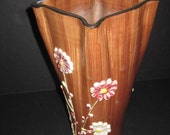 Vintage 1960s Pottery Vase, Raised 3D flowers, art pottery, TheRetroLife