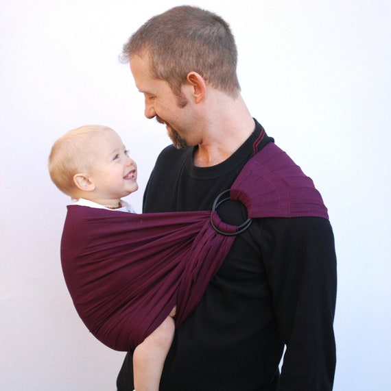 Baby carrier daddy ring sling linen merlot pleated shoulder for Daddy carrier