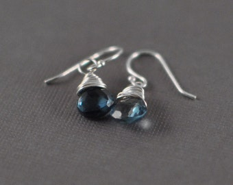 London Blue Topaz Briolettes Sterling Silver Dangle Earrings - Wirewrapped Briolette Sterling Silver Earrings - Bridal Jewelry