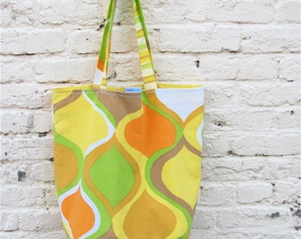 Tote Bag - Mad for Mod Upcycled Simple Shopper - Golden Yellow Green and Orange Mid Century Modern Market / Eco Grocery Bag - Eco Friendly