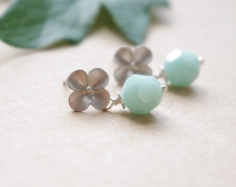 Mint Blue Stud Earrings, Sterling Silver Pastel Earrings, Swarovski Crystal, Vintage Inspired Floral Jewelry, Fashion Jewelry Gifts For Her