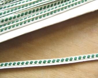 Vintage Ribbon Braid Trim - White and Green - Green White Vintage Fabric Trim