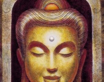Smiling Buddha Zen Meditation spiritual art Buddhism poster Buddhist print of painting