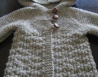 Child Hooded Jacket Size 6, Child Hooded Sweater Size 8, Child Wool Jacket, Child Knit Hooded Jacket, Gray Child Jacket, Girl Cream Jacket