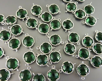 2 emerald green 10mm faceted round glass connectors, bridal / wedding jewelry, crafts 5014R-EM-10 (bright silver, emerald, 10mm, 2 pieces)