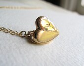 Petite gold vintage heart locket on delicate 14k gold plated chain, Edwardian