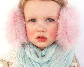 Cute earmuffs, ear warmer, faux fur earmuff, winter hat, Christmas gift for girl, winter accessory.