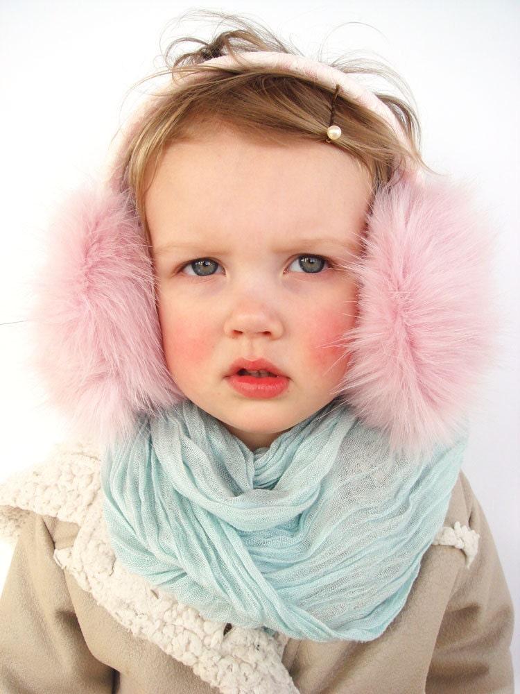Cute Kids: Pink Ear Muffs Adult / Kids Earmuff Ear Warmer Faux Fur