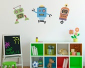 Cute Robots Decal - Group Vinyl Wall Art - Children Wall Decals
