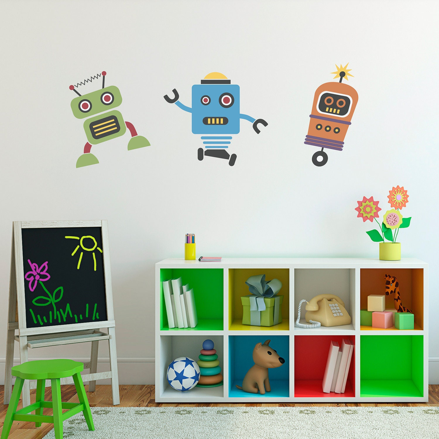 Cute robots decal group vinyl wall art children wall details these robot wall decals amipublicfo Gallery