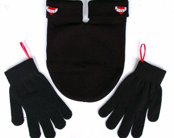 Black SMITTEN Mitten with Love Buttons (for holding hands when its cold outside) Black GLoves and Card Included, FREE Shipping USA