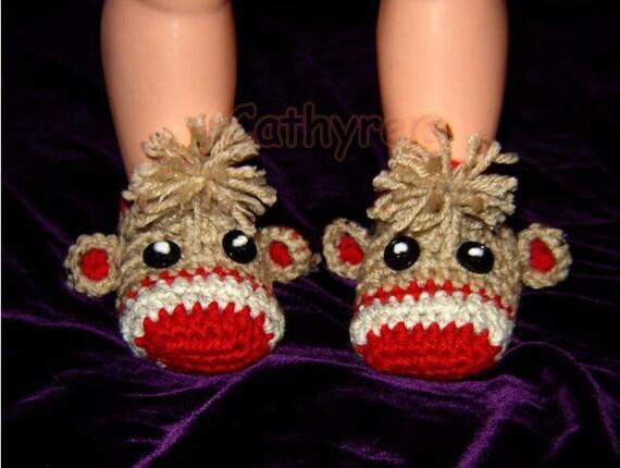 Baby Sock Monkey Booties -  INSTANT DOWNLOAD Crochet Pattern