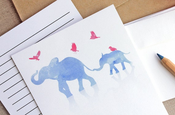 Big and Small Elephant Writing Set - 10 Pack - Watercolor print in blue and pink - Thank You - Correspondance - Announcement