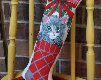 Plush CHRISTMAS Stocking Stuffed PILLOW with CAT - Vintage Fabric