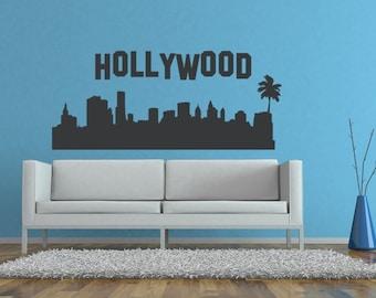 Hollywood Wall Decal, Hollywood Sign, California Skyline Wall Decal, Hollywood Dorm Decor, Palm Tree Wall Decal, Modern Nursery Decor