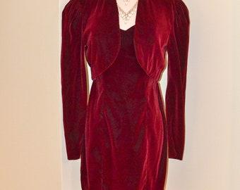 Vintage Red Velvet Holiday Dress with Bolero Jacket, Red Velvet Strapless Cocktail Dress, Christmas Dress