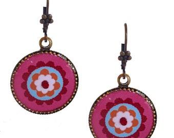 Flower Earrings - Floral Earrings - Colorful Earrings - Circle Earrings - Statement Earrings - Casual Jewelry - Unique Jewelry