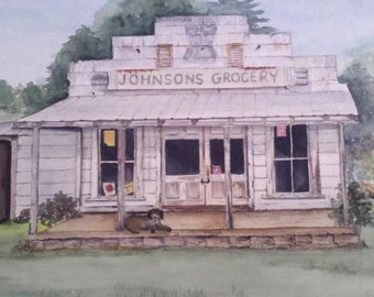 Watercolor print of old Johnson's Grocery, Waynesville, NC