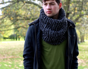 SALE Men's Chunky Cowl Men's Scarf Men's Snood Hand Knit Cowl Neck Scarf Winter Accessories Gray Mix Cowl Scarf