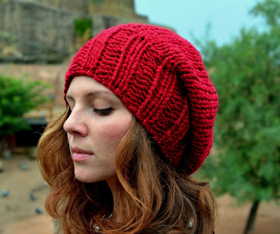 Knitting Patterns Ladies Winter Hats : Red Slouchy Beanie Womens Slouchy Hat Hand Knit Hat Slouchy