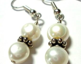 Pearl Earrings Genuine Freshwater Baroque Pearl Dangle Earrings with Sterling Double Pearl Drop Earrings