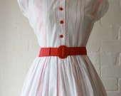 1950s Red and White Day Dress