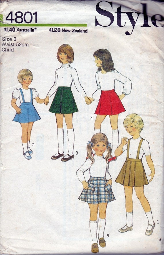 70s Vintage Girls sewing pattern Style 4801 Skirts & Pinafore Suspender skirt Size 3 Waist 20 1/2