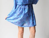 vintage 1980s dress / 80s blue floral dress / Scattered Floral Blue Dress