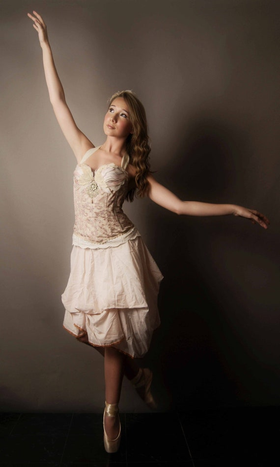 Ballerina In Wonderland Dress/ Upcycled Vintage corset top 32B with Swan Feathers and Bustle Skirt/ 081